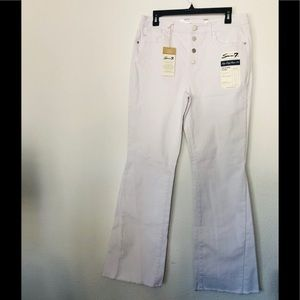 NEW Seven7 high rise flare white jeans